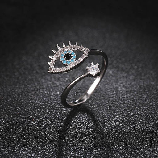 Lady's Fashionable Charm Crystal Devil's Eye Opening Adjustable Ring - SolaceConnect.com