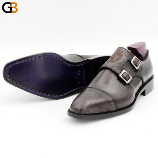 Square Captoe Double Monk Straps Carving Design Full Grain Calf Leather Blake Stitch Men's Dress - SolaceConnect.com
