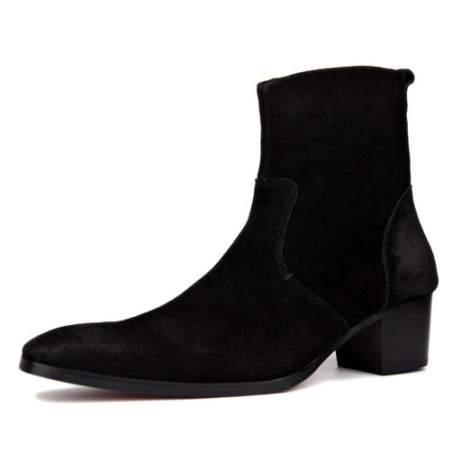 4 Color High Heel Boots For Men Handmade Genuine Suede Leather Boot Classic Shoes Man Designer - SolaceConnect.com