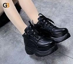 Spring Casual Fashion Ladies White Leather Platform Sneaker Shoes - SolaceConnect.com