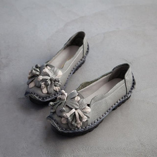 Autumn Flowers Handmade Shoes Women's Floral Soft Flat Bottom Shoes Casual Sandals Folk Style Women Genuine Leather Shoes - SolaceConnect.com