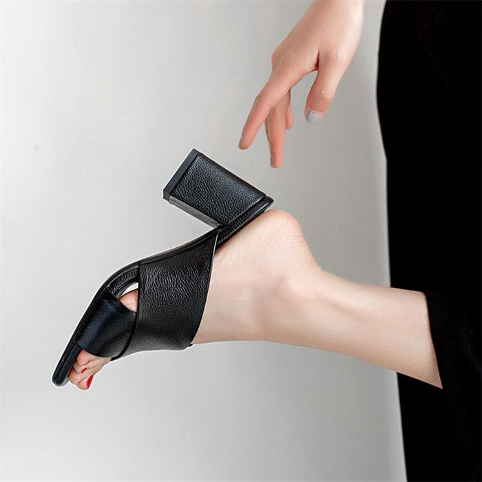 Women's Summer Gladiators in Genuine Leather with Square High Heels - SolaceConnect.com