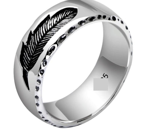 925 Silver Thai Punk Vintage Jewelry Rock Feather Ring for Men Women - SolaceConnect.com