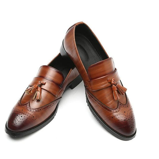 Men's Slip-on Formal Brogue Tassel Leather Dress Shoes with Pointed Toe - SolaceConnect.com