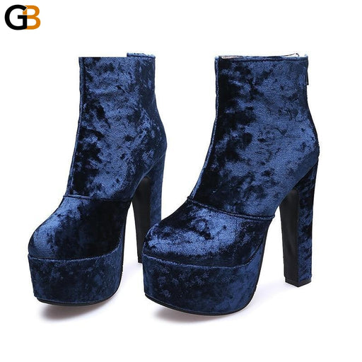 Fashion Autumn Women's High Heel Platform Ankle Boots with Round Toe - SolaceConnect.com