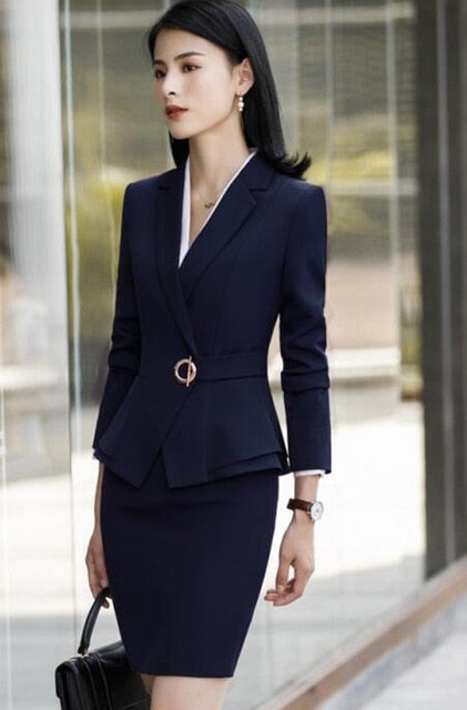 Winter Formal Long Sleeve Slim Blazer and Trousers Suit for Office Ladies - SolaceConnect.com
