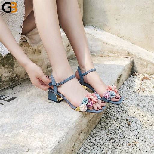 Women's Elegant Square Heel Floral Sandals with Ankle Strap and Buckle - SolaceConnect.com