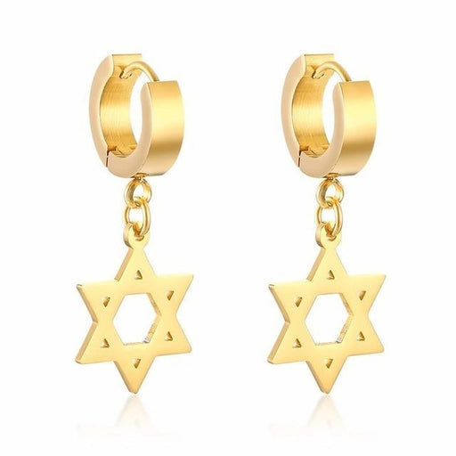 Unisex Stainless Steel Israel Star of David Hexagon Dangle Drop Earrings - SolaceConnect.com