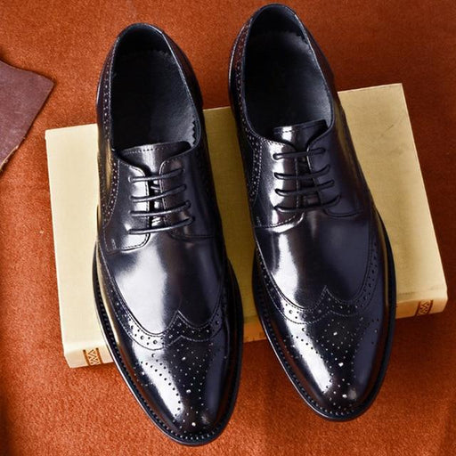 Formal Men's Black Genuine Leather Oxford Wedding Dress Shoes - SolaceConnect.com