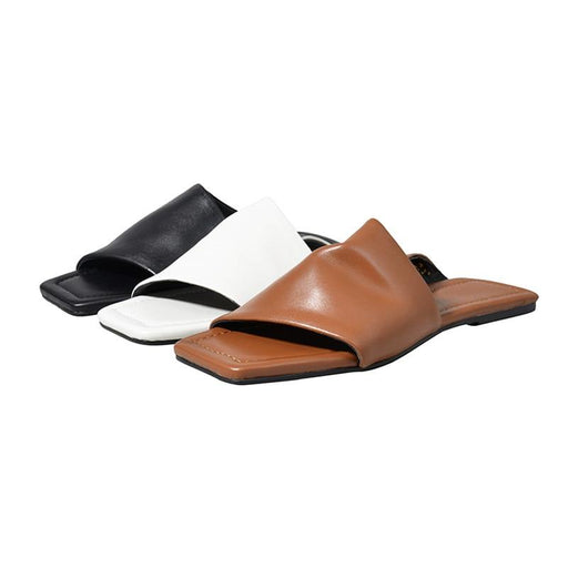 Genuine Sheepskin Casual Summer Sandals for Women with Square Heels - SolaceConnect.com