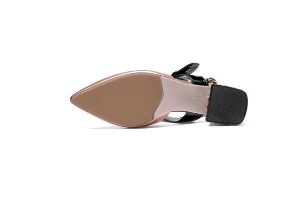 Women's Sexy Summer Pointed Toe Leather Sandals with High Heels - SolaceConnect.com