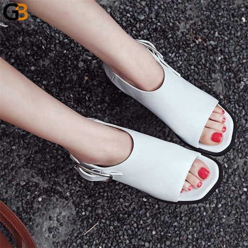 Women's Genuine Leather Spring Autumn High Heel Sandals with Peep Toes - SolaceConnect.com