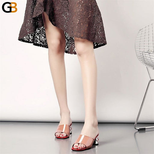 Women's High Heel Fashionable Genuine Leather Shoes for Summer Party - SolaceConnect.com