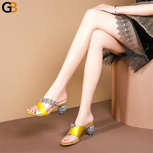 Women's Genuine Leather High Heels Mixed Colors Classic Summer Sandals - SolaceConnect.com