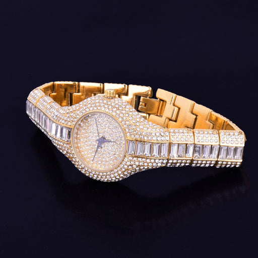 Women watch Gold Dial Military Quartz Clock Luxury Colorful Rhinestone Business Waterproof wrist - SolaceConnect.com