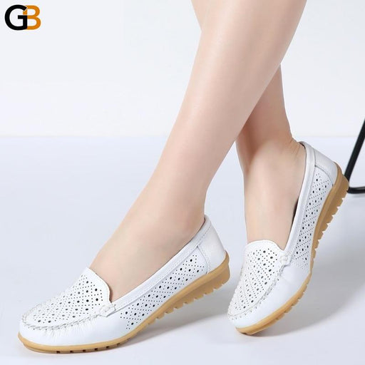 Women's Cutout Slip-on Ballet Loafers in Genuine Leather with Round Toe - SolaceConnect.com