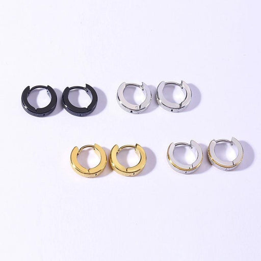 Simple Small Hoop Earrings for Women Men Sandblasting Solid Stainless Steel Circle Earrings Punk - SolaceConnect.com