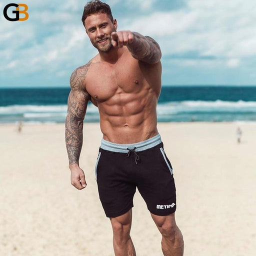 Men's Fitness Bodybuilding Cotton Summer Style Skinny Knee Length Shorts - SolaceConnect.com
