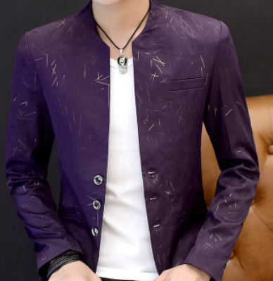 2019 Men's Casual Youth Handsome Trend Slim Print Collar Suit - SolaceConnect.com
