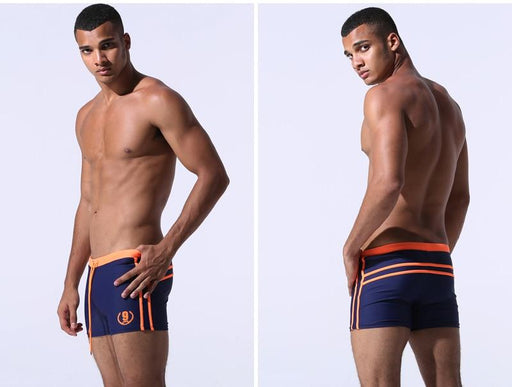 Sexy Men's Solid Color Swimwear Boxer Trunk Shorts for Surfing - SolaceConnect.com