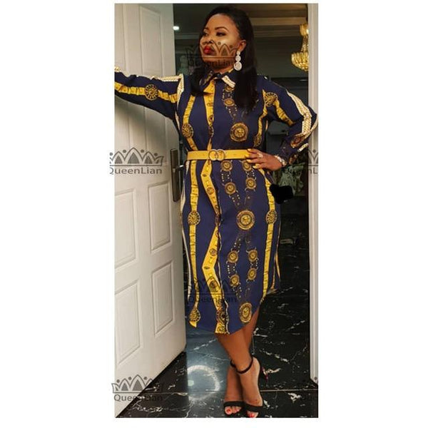 Size L-3XL African Printed Shirt-Collar Skirt Big Elastic Dress for Women - SolaceConnect.com