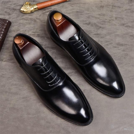 Men's Genuine Leather Lace-up Oxford Dress Shoes with Pointed toe - SolaceConnect.com