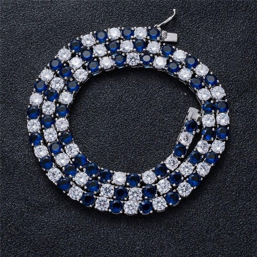 Iced Out Unisex Blue Zirconia Necklace Tennis Chain Hip Hop Jewelry - SolaceConnect.com