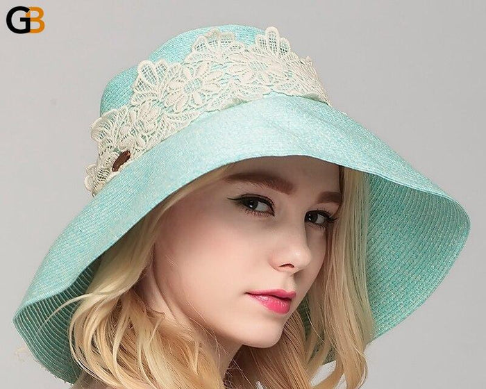 Women's Summer Wide Brim Folding Elegant Travelling Straw Sun Hat - SolaceConnect.com