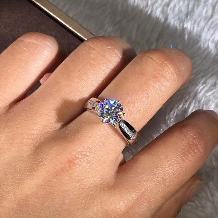 Luxury Female Cute Silver Rose Gold Color Crystal Solitaire Wedding Ring - SolaceConnect.com