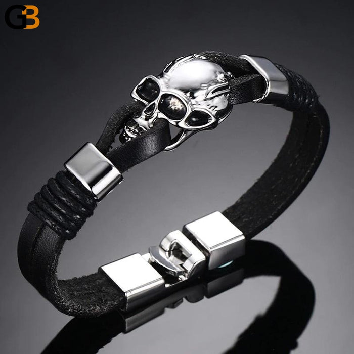 Gothic Skull Cuff Bangle Charm Durable Black Leather Bracelets for Men - SolaceConnect.com