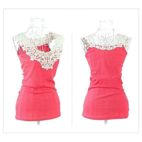 Women's Crochet Lace Chiffon Shirt Sleeveless Slim Casual Blouse - SolaceConnect.com