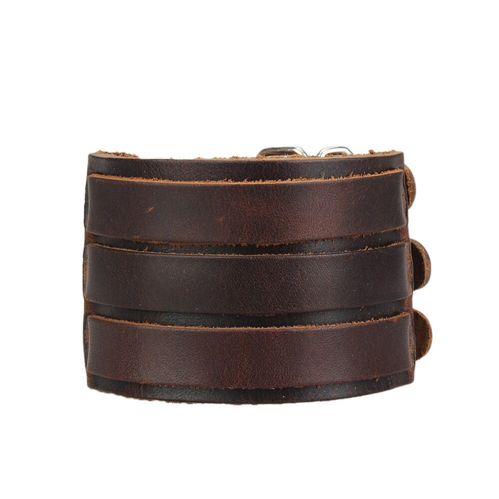 Rock Summer Style Wide Genuine Leather Unisex Bracelets Wristband - SolaceConnect.com