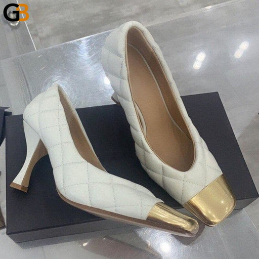 Luxury Square Toe 100% Genuine Leather High Heel Shoes Women Elegant Party Wedding Sheepskin Pumps - SolaceConnect.com