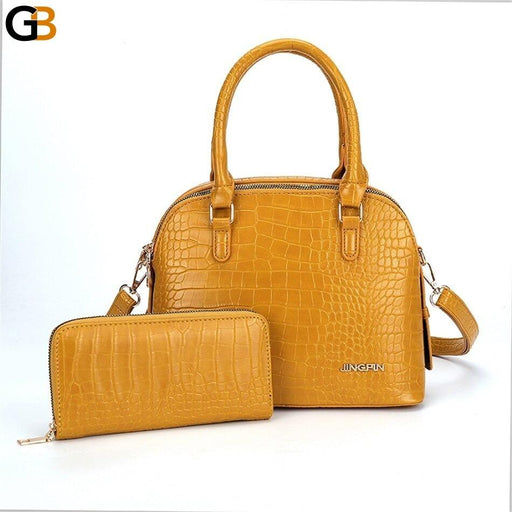 2 IN 1 Luxury Designer Fashion Leather Ladies Purses and Handbags - SolaceConnect.com