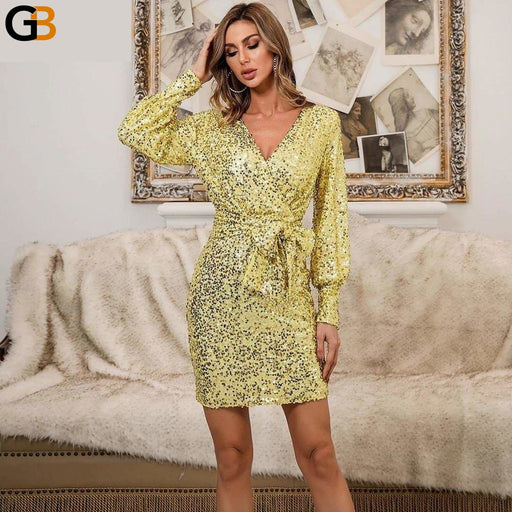 Sexy Deep V Neck Long Sleeve Mini Dress Women Autumn Winter Sequins Bodycon Dress Lace Up Short - SolaceConnect.com