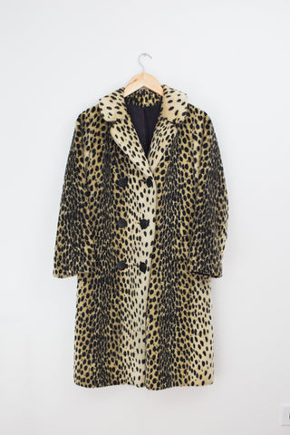 Vintage Faux Fur Cheetah Print Overcoat, Size M/L, Made by Zanzibar