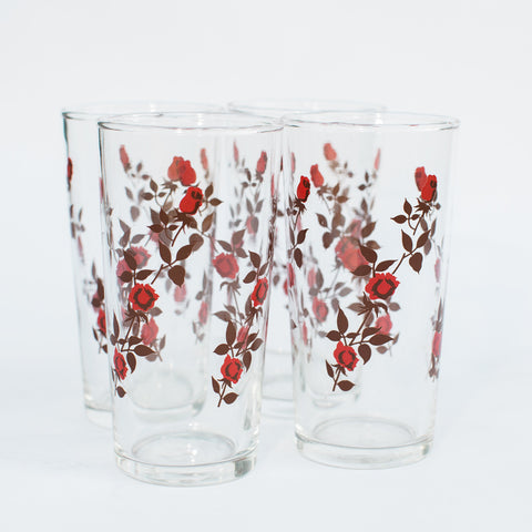1970's Rose Drinking Glasses