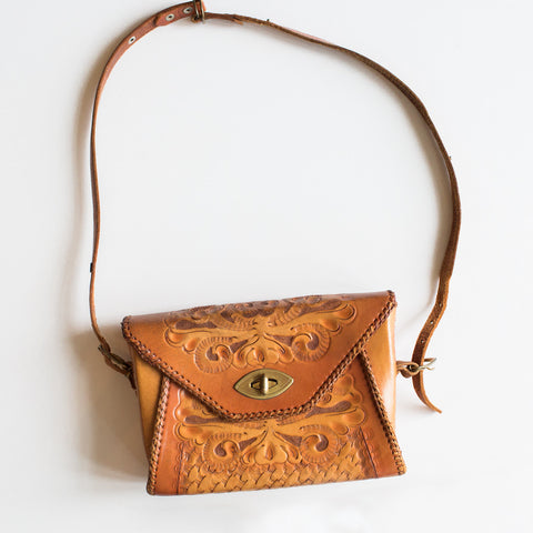 1970's Art Neuvo Leather Purse