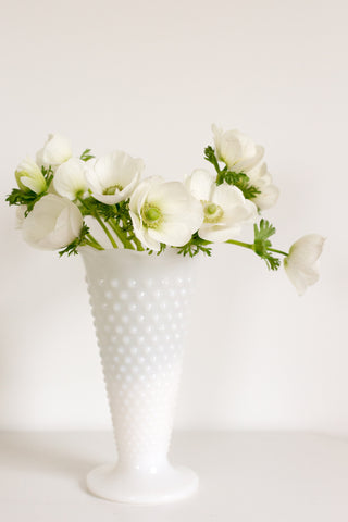 Large White Fenton Vase with Round Hobnail Texture
