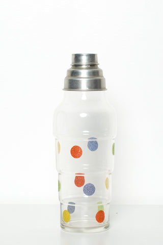 Large Retro Glass Cocktail Shaker With Tin Lid and Strainer