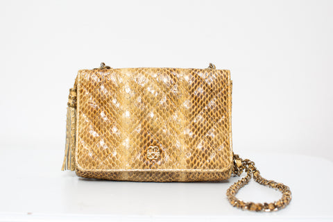 1980's Yellow Snakeskin Purse