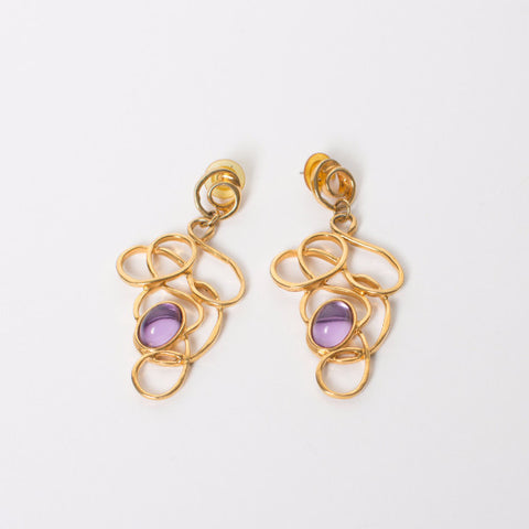 Gold Filigree Dangling Earrings with Purple Stone
