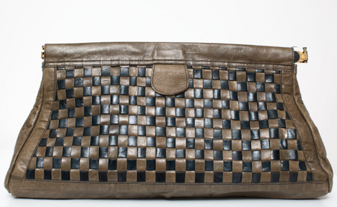 1980's Oversized Leather Olive and Black Clutch With Basketweave Detail