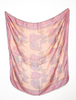 1970's Large Pink Tribal Soft Silk Cotton Scarf