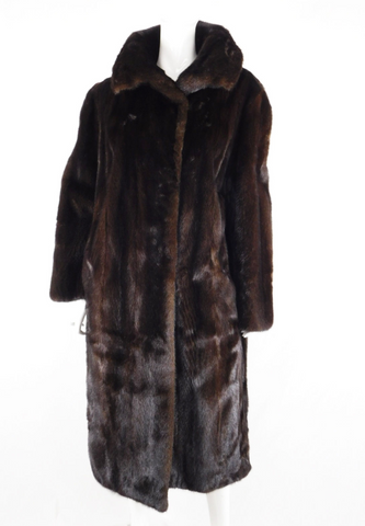 Chocolate Mink Full Length Vintage Fur Coat, Size L