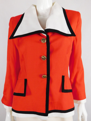Jacques Fath Paris - Neiman Marcus - Red Blazer Jacket - Size 4