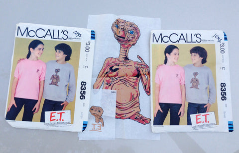 McCall's 8356 Sewing Pattern, Children's, Boy's, and GIrl's sweatshirt and Iron-on Transfer, E.T.