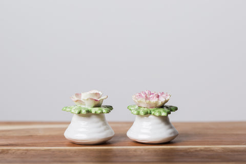 English Bone China Rose Salt and Pepper Shaker - 1950 to 1960