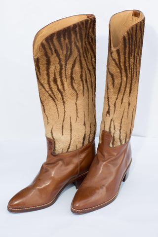 1980's Leather and Faux Tiger Cowboy Boots