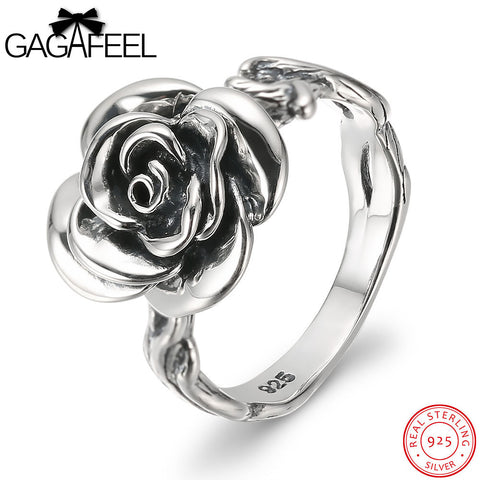 Vintage Style Rose Rings 925  Sterling Silver Jewelry for Women Fashion Office Lady Charms Female's Party Gifts